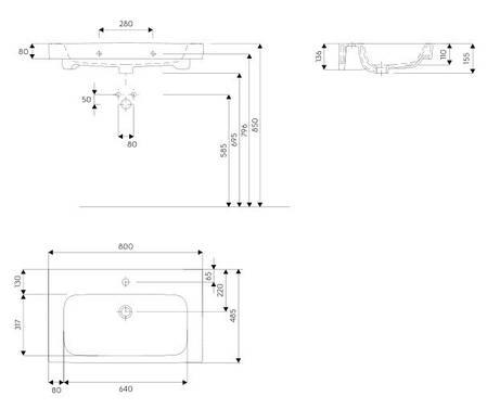 Меблевий умивальник KOLO MODO / L3198000 / 80 см, фото 2