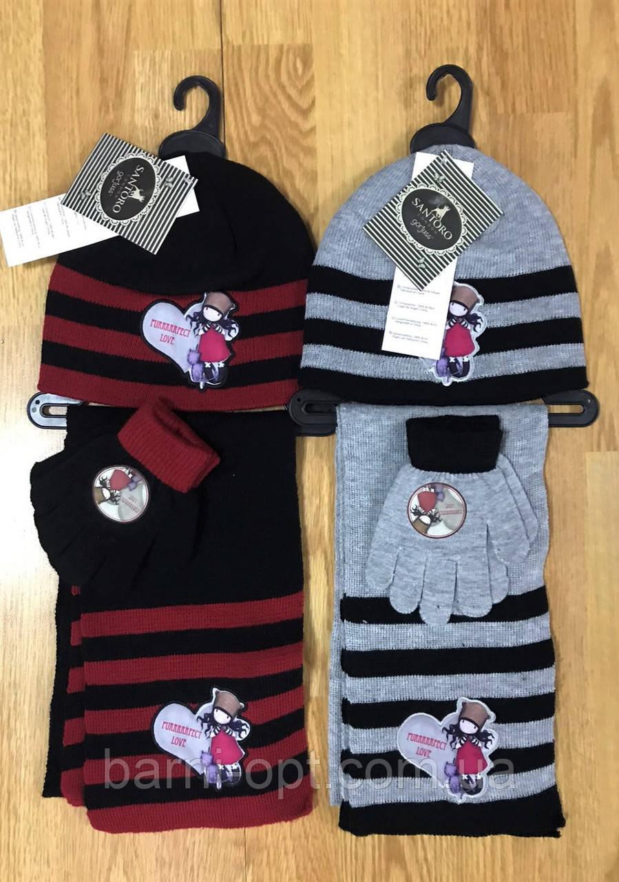 Комплект шапка с перчатками + шарф детские Disney, в наличии52/54 рр