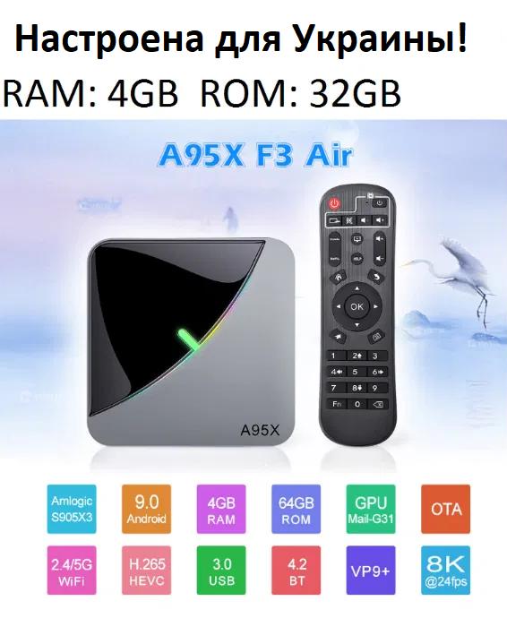 Smart TV Приставка Smart TV A95X F3 AIR 4gb/32гб s905x3 Android 9 (4/32 GB ) Настроена для Украины!