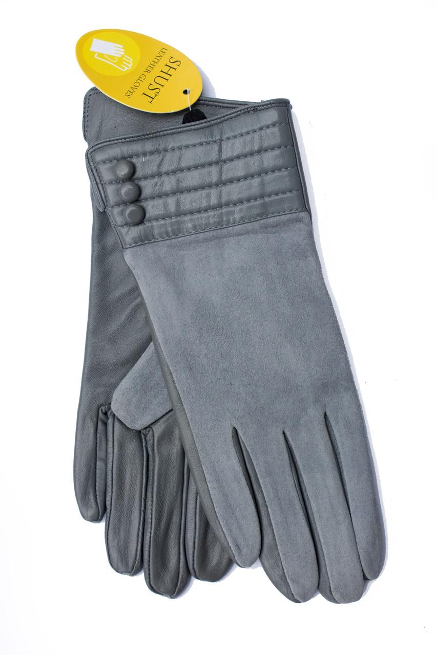 Женские комбинированные перчатки кожа+замша 799