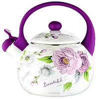 СКИДКА! Чайник индукционный 2,2 литра эмалированный со свистком для плиты «Фиолетовая роза» Zauberg