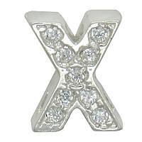 """Серебряная буква на цепочку """"X"""""""