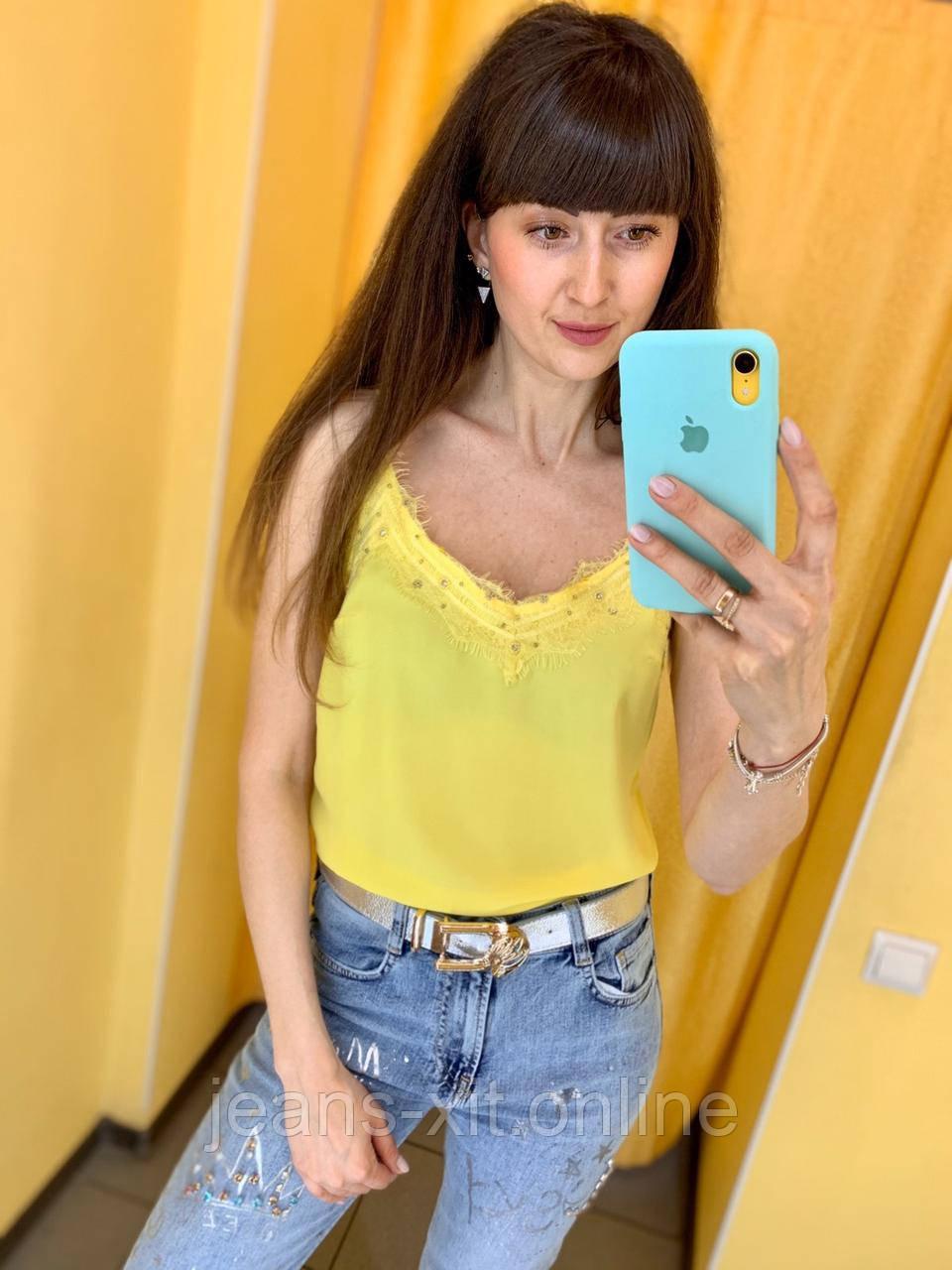 Майка женская 36(р) пудровая 931424880 Phardi Турция Лето-C 36, желтая