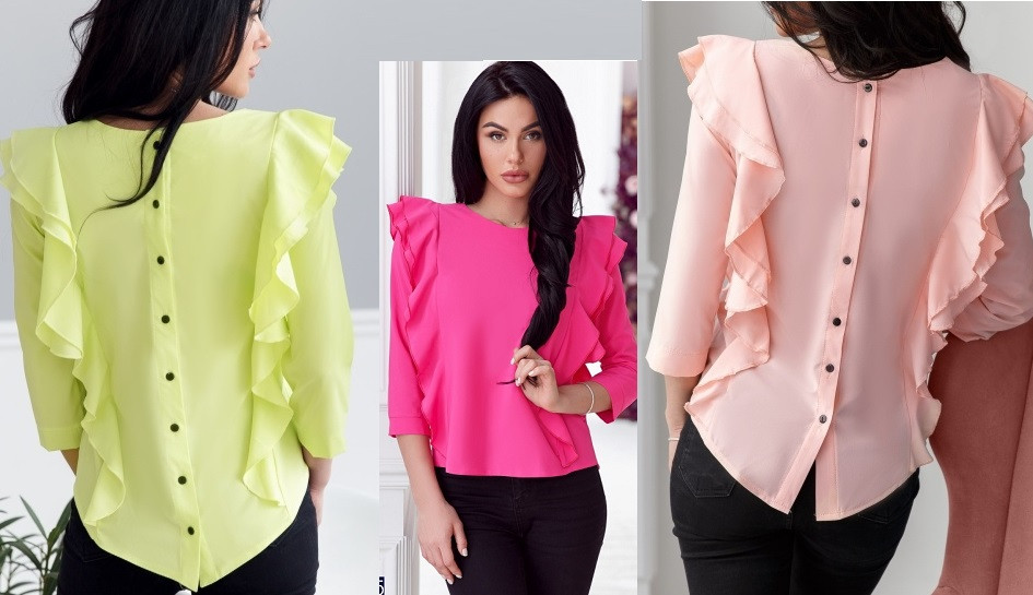 Блуза  сзади  пуговицы разные цвета с м л