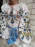 Стильна вишиванка для дівчинки в блакитних тонах, поплін 265/305 грн (ціна за 1 шт +40 грн), фото 3