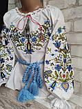Стильна вишиванка для дівчинки в блакитних тонах, поплін 265/305 грн (ціна за 1 шт +40 грн), фото 2