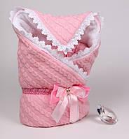 """Зимний конверт-плед """"Змейка"""" вязаный косами для новорожденной девочки, фото 1"""