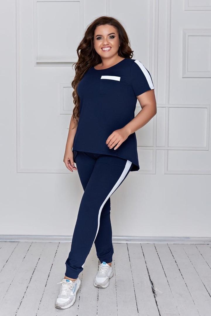 Женский спортивный костюм из двухнитки больших размеров с футболкой размеры 48-58 синий