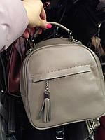 """Женский кожаный рюкзак мини (трансформер)  """"Калисто Light Gray"""", фото 1"""