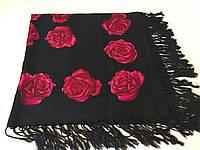 Хустина чорна з квітами темно бурдовими NoVa 87*87 см, фото 1