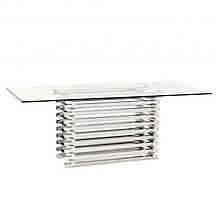 Обеденный стол «DESTRO» из зеркальной нержавеющей стали и стекла