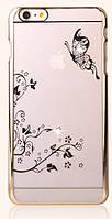 Чехол SWAROVSKI Butterfly Clear Gold для Iphone 6/6S