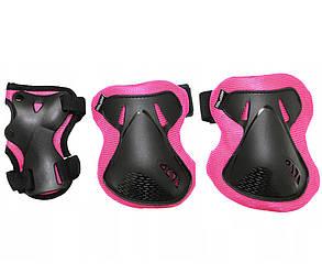 Комплект защитный спортивный SportVida SV-KY0006-L Size L Black/Pink манжеты, налокотники и наколенники