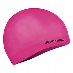 Шапочка для плавания женская безразмерная SportVida SV-DN0018 Pink 100% силикон розового цвета