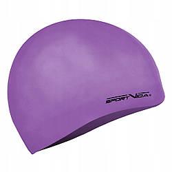 Шапочка для плавания женская безразмерная SportVida SV-DN0018 Violet 100% силикон фиолетового цвета