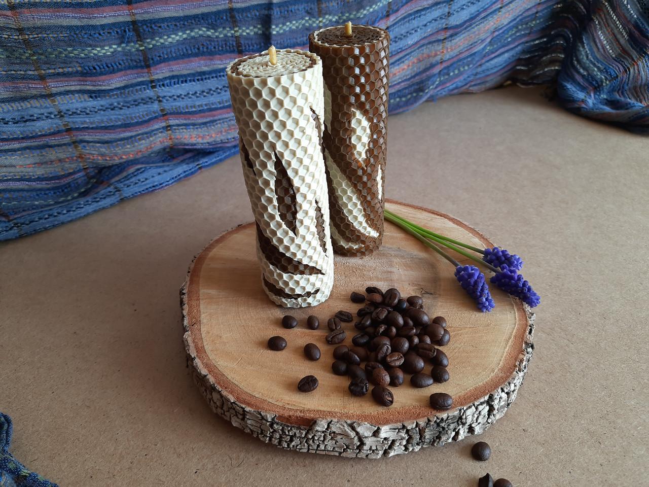 Набір свічок з кольорової вощини Кава з молоком