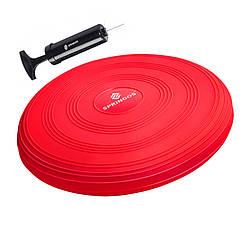 Балансировочная подушка (сенсомоторная) массажная Springos PRO FA0085 Red для дома и спортзала
