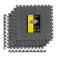 Защитный коврик напольный 4FIZJO Mat Puzzle 120x120x1 cм Black мат-пазл из 4 частей для дома и спортзала