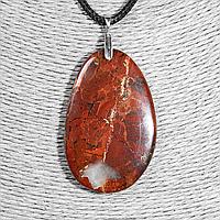Кулон з червоною яшмою, 51*33 мм, срібло, 1245КЛЯ, фото 1