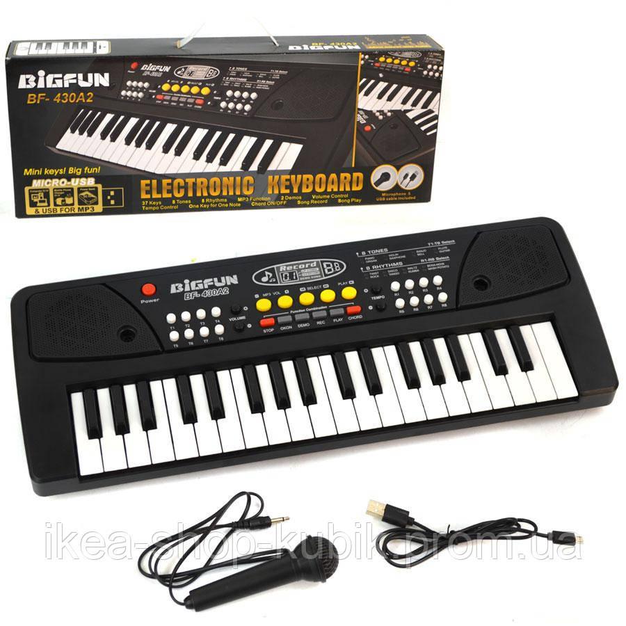 Синтезатор детский bf-430a2, микрофон в комплекте, запись и воспроизведение песен