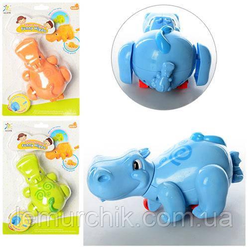 Заводная детская игрушка в ванну и игр на полу Бегемотик
