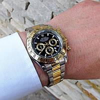 Мужские металлические часы Rolex Daytona, Ролекс, золотий металевий чоловічий годинник