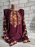Вишиванка жіноча, з довгим рукавом, блузка з вишивкою на шифоні 520/420 грн (ціна за 1 шт +100 грн), фото 2
