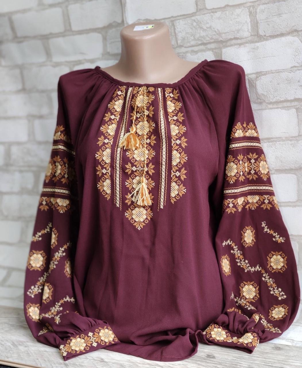 Вишиванка жіноча, з довгим рукавом, блузка з вишивкою на шифоні 520/420 грн (ціна за 1 шт +100 грн)