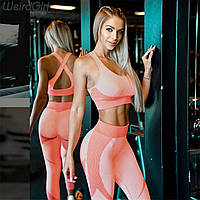 Женский костюм для фитнеса розовый размер L