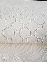 Шпалери вінілові на флізелін BN International 219726 Finesse геометрія кола квадрати сріблом на молочному, фото 1