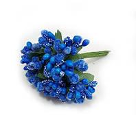 """""""Тичинки в цукрі"""" сині, штучних на розетці листя (1 набір - 12 гілочок )"""