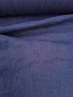 """Льняная плотная костюмная ткань с """"эффектом помятости"""" темно-синего цвета"""