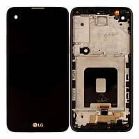 Дисплей для LG X Screen K500N, LG X View K500, модуль в сборе (экран и сенсор), с рамкой, золотистый, оригинал