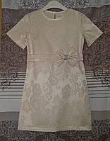 Прямое детское платье с поясом, кремовое, размер_122