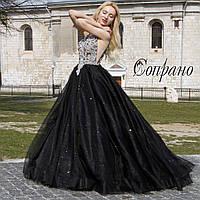Платье выпускное пышное черное вечернее
