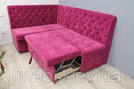 Кутовий диван зі спальним місцем в кухню (Яскраво-рожевий)