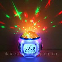 Музыкальные часы Будильник с проектором звездного неба 6 цветов UKC 1038 ХИТ !