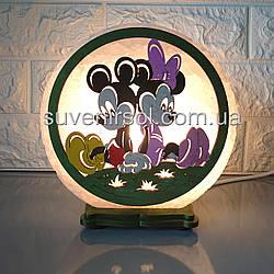 Соляной светильник круглый Микки М+М цветной