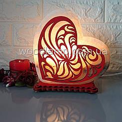 Соляной светильник Сердце большое Узор 2 цветн