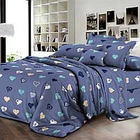 Комплект постельного белья ранфорс Сердечки Marcel 20-111 синий Двуспальный комплект