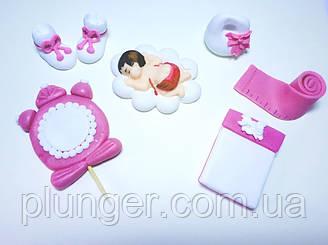 Цукрова прикраса для торта Набір для малюка (для дівчинки)