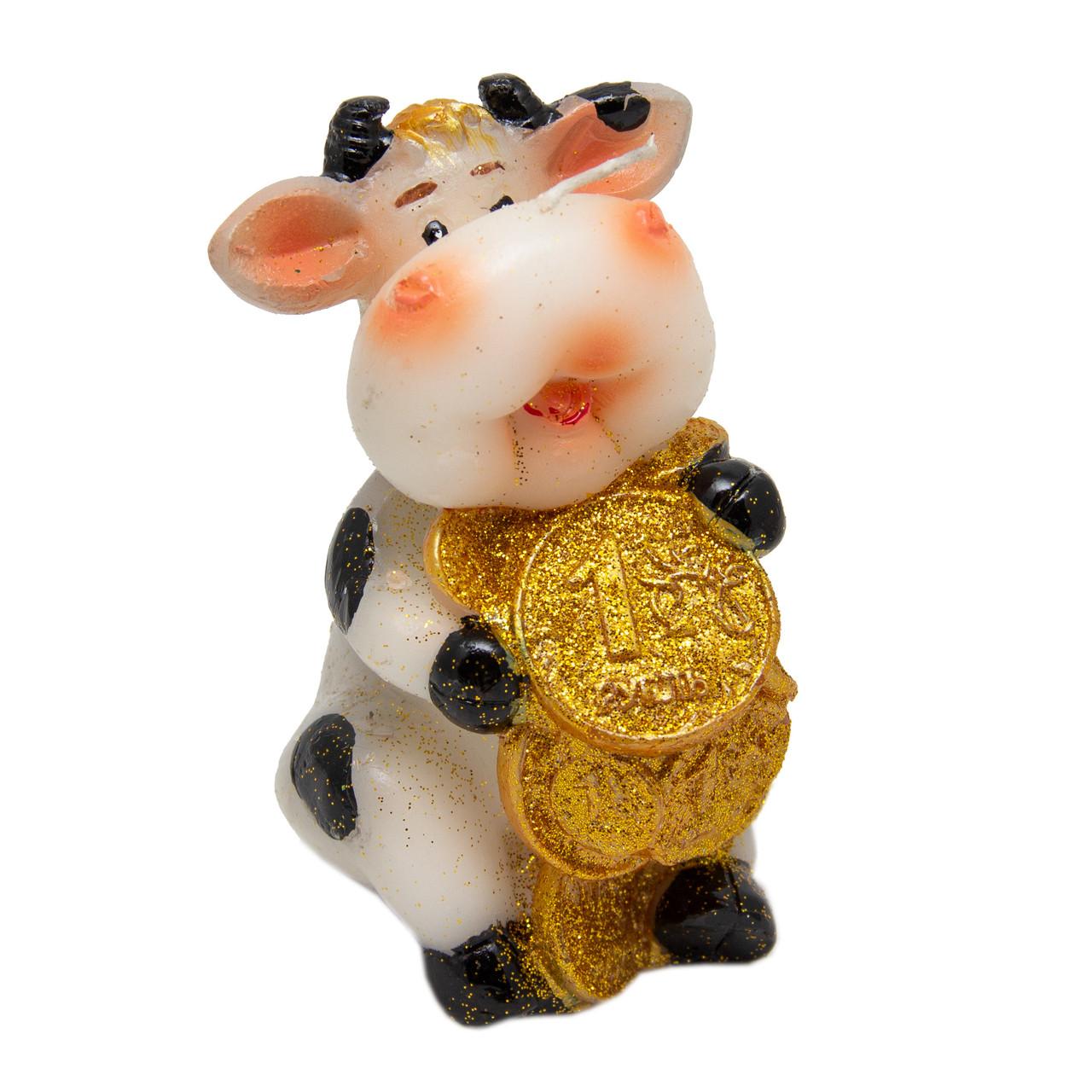 Свечка Бычок с большими монетами, 9,5см (011445-7)