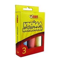Набор мелков цветной детский для доски, школы, асфальта 3 цв TIKI Jumbo в карт. уп 51510-ТК