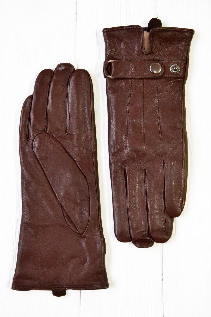 Коричневые женские кожаные перчатки маленькие