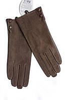 Женские комбинированные перчатки кожа+замша 756s3, фото 1