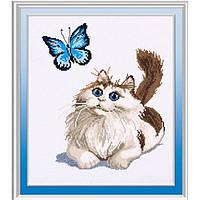 """Вышивка крестиком """"Кот и бабочка"""" 46х56см D370"""