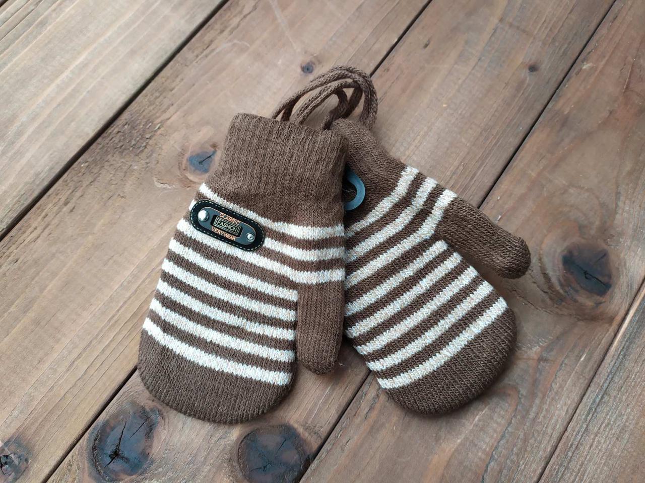 Детские варежкие утепленные коричневые 5006-3