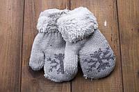 Детские варежкие утепленные махра светло-серые 5360-7, фото 1