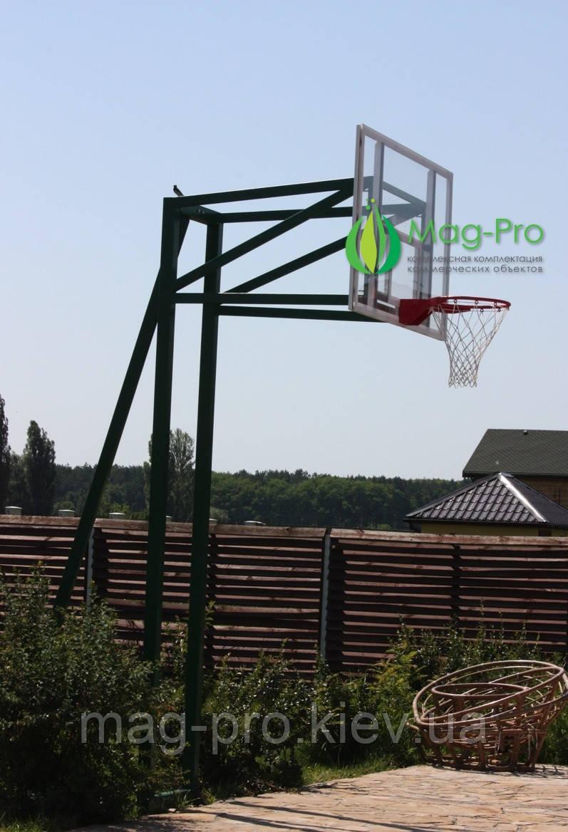 Комплект с баскетбольным щитом из оргстекла на трех опорах(стойка, баскетбольный щит, кольцо с сеткой)