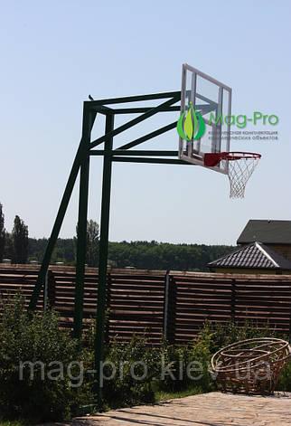 Комплект с баскетбольным щитом из оргстекла на трех опорах(стойка, баскетбольный щит, кольцо с сеткой), фото 2